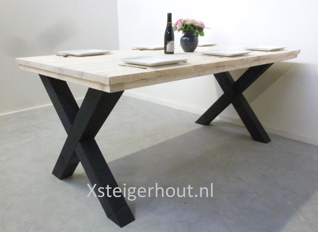 Industriele Sloophout Tafel.Industriele Tafel X Kruispoot Bouwpakket Xsteigerhout
