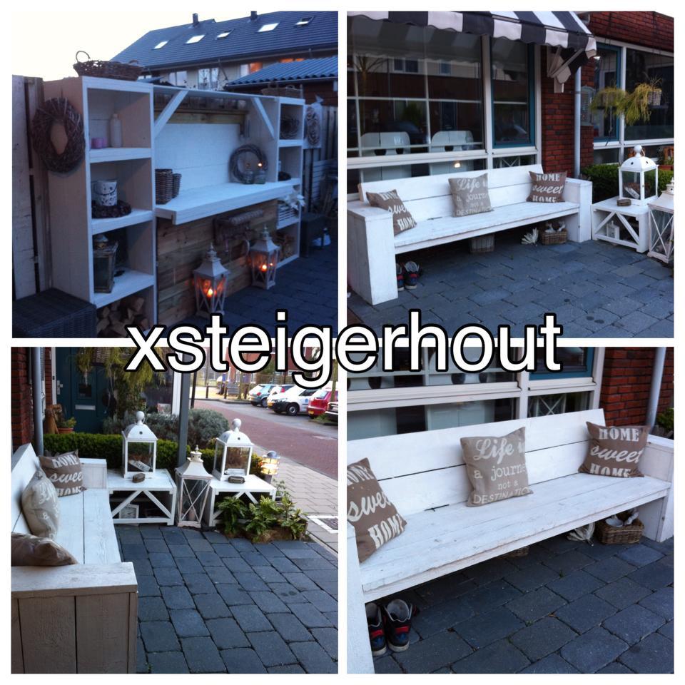 Loungebank steigerhout wit en kast steigerhout