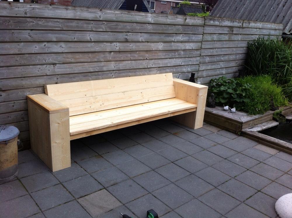 Loungebank steigerhout net klaar zelf gemaakt niet behandeld