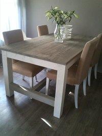Steigerhout tafel kloostertafel grijs wit