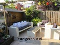 Steigerhout loungeset met kussens