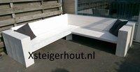 Witte steigerhout hoekbank