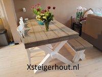 Steigerhout Eettafel met bankje