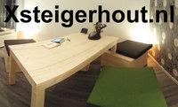 Steigerhout tafel met ongelijke poten