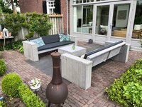 Mooie steigerhout loungebanken met kussens