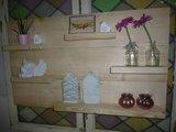 Wandbord steigerhout met glas in lood ramen