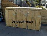 Zelf gemaakte kliko container ombouw met een bouwpakket van steigerhout