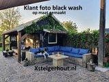 Steigerhout hoekbank met opbergruimte in black wash beits zelf gemaakt met een bouwpakket