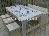 Kloostertafel, tuinbank, krukjes steigerhout