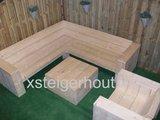 hoekbank steigerhout met loungestoel diep en hocker