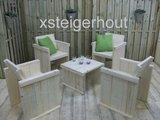 Tuinset steigerhout met 4 tuinstoelen