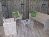 tuinset steigerhout met 2 stoelen en tuinbank