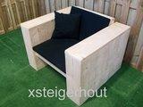 loungestoel steigerhout met kussens