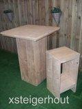 Barkruk steigerhout met Statafel steigerhout