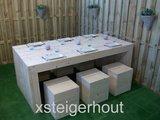 Tafel steigerhout u model met hockers