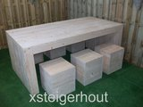 Hocker steigerhout met u tafel steigerhout