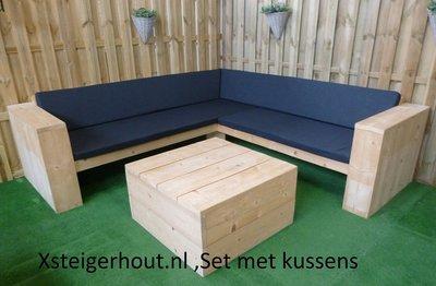 Steigerhouten hoekbank met kussens en tafel bouwpakket