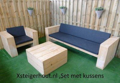 Steigerhouten loungeset met kussens bouwpakket