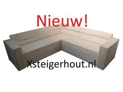 Steigerhout hoekbank met opbergruimte bouwpakket