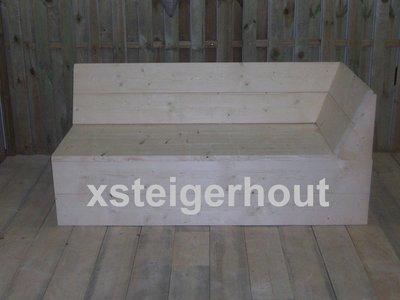 Bouwtekening hoekbank startdeel steigerhout