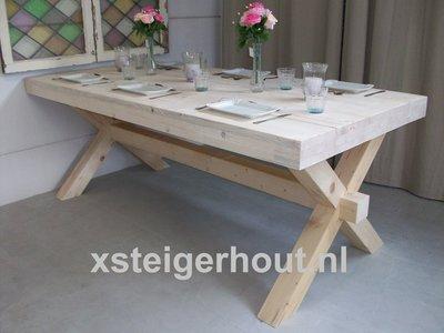 Kruispoot-tafel-x-op maat-bouwpakket-steigerhout