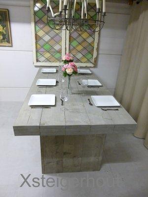 Steigerhout tafel met kolompoten bouwpakket