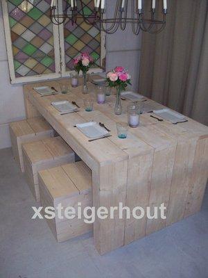 Steigerhout tafel met krukken bouwpakket