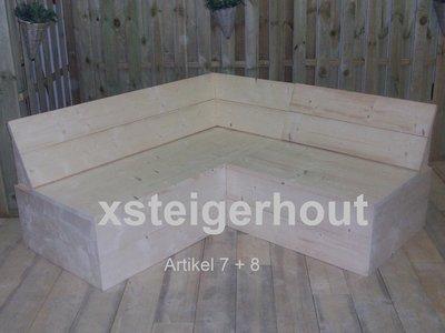 Steigerhout hoekbank met dichte onderkant bouwpakket