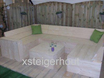 U hoekbank steigerhout bouwpakket