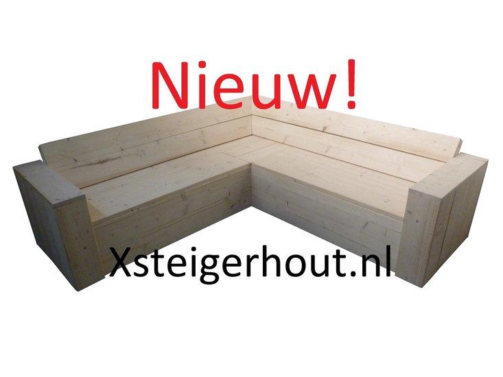 Loungeset Opbergruimte Kussens.Steigerhout Hoekbank Met Opbergruimte Met Kussens En Hocker