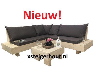Zwevende hoekbank steigerhout met kussens en tafel nieuw