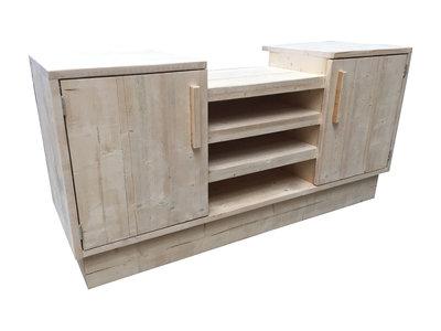bbq meubel steigerhout schuin voorkant