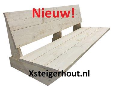 lage steigerhout bank met text in de foto nieuw xsteigerhout