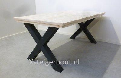 Industriele Tafel Sloophout.Industriele Tafel X Kruispoot Bouwpakket Xsteigerhout