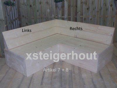 Steigerhout hoekbank met dichte onderkant links en rechts