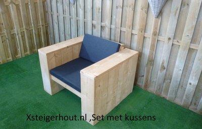 Steigerhout loungestoel met kussens
