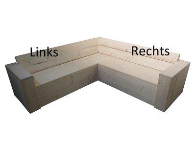 Hoekbank steigerhout met opbergruimte (links x rechts)