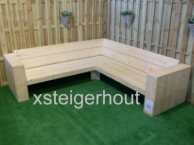 Tuinset Steigerhout Bouwtekening.Hoekbank Steigerhout Bouwpakket