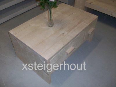 Salontafel steigerhout met lade 69 xsteigerhout for Bouwpakket steigerhout