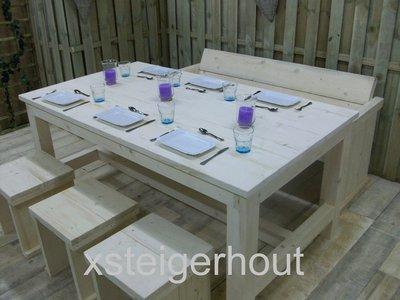 Tuinset steigerhout bouwpakket xsteigerhout for Tuintafel steigerhout bouwpakket