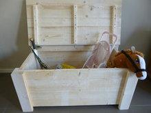 Kist steigerhout met klep open