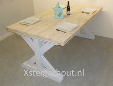 Landelijke tafel steigerhout wit onderstel