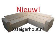 Nieuw steigerhout hoekbank met opbergruimte
