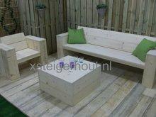 Droomhout houten loungebank voor buiten kom ook proefzitten in